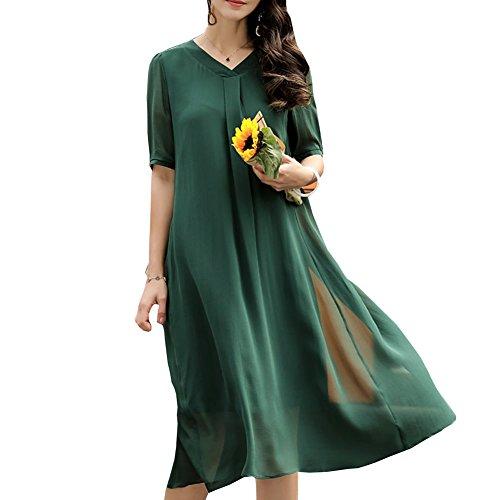 DISSA Gestreift Abendkleid Midi S2510 Kleider Kleid Grün Damen Cocktail Übergröße Seide r1qfr