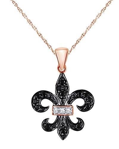 Round Cut Black and White Diamond Fleur-de-Lis Pendant in 10K Solid Rose Gold (1/8 CT) ()