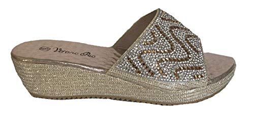 (Verano Rio Womens Black Gold Silver Rhinestone Wedge Slip on Slides Sandals Shoes (8.5, Gold Low Wedge))