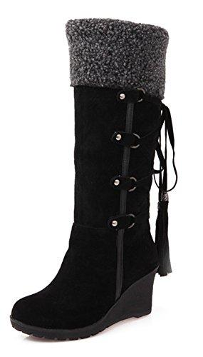 Chaud Mode Aisun Tige Noir Bottes Haute Femme Compensées qv5Cx5wE