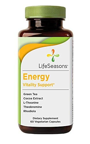 Life Seasons - Energy - Energy Booster for Mental and Physical Strength - No Jitters - Extra Stamina Enhancement - Contains Green Tea and L-Theanine (60 Capsules) (Natural Vitality Energy)
