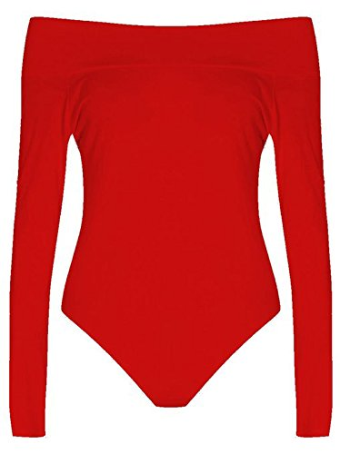 Girls Walk Women's Plain Long Sleeves Off Shoulder Stretchy Bodysuit Leotard Top