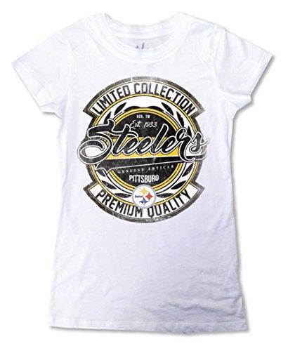 Zubaz NFL Pittsburgh Steelers Women's Crew Neck Tee, XX-Large, White