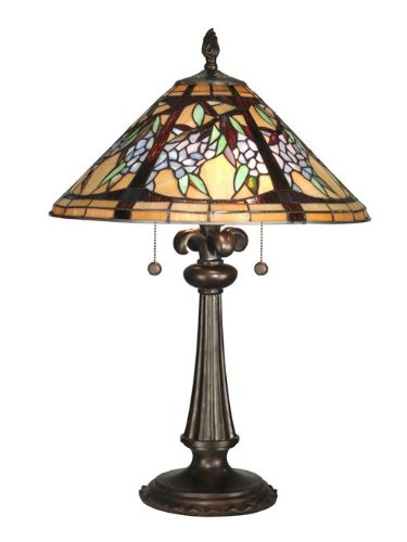 Dale Tiffany TT10526 Floral Branch Tiffany Table Lamp, Antique Bronze