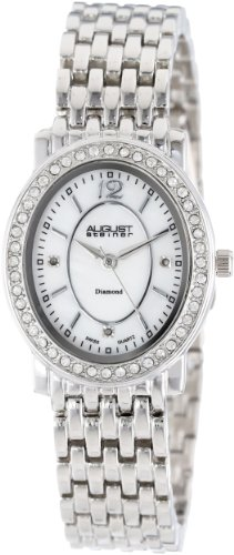 August Steiner Women's AS8043SS Dazzling Diamond Oval Bracelet Watch
