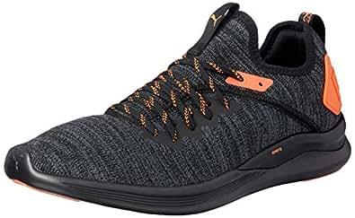 PUMA Men's Ignite Flash Evoknit Unrest Bl Shoes, Puma Black-Shocking Orange, 7 US