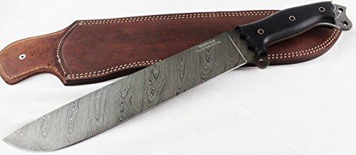 "Moorhaus Damascus Machete Knife - Handmade 17.5"" Total Length - Includes Leather Sheath (Black Micarta)"