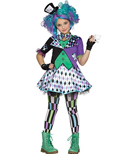 (Fun World Little Girl's Lrg/mad Hatter Chld Cstm Childrens Costume, Mulri/Color,)