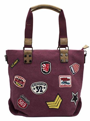 Hello Bag! - Bolso de tela de Lona para mujer granate