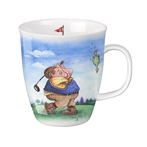 SVIV Curve New Bone China Coffee or Tea Mug, 16oz (Gentlemen's Day at Golf)