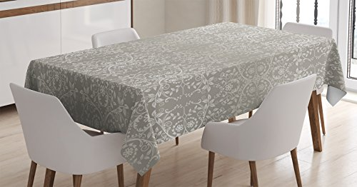 Ambesonne Grey Tablecloth, Victorian Lace Flowers and Leaves Retro Background Old Fashioned Graphic, Dining Room Kitchen Rectangular Table Cover, 60