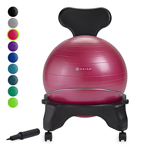 Gaiam Classic Balance Ball Chair - Exercise Stability Yoga Ball Premium Ergonomic Chair for Home and Office Desk with Air Pump, Exercise Guide and Satisfaction Guarantee, Fuchsia