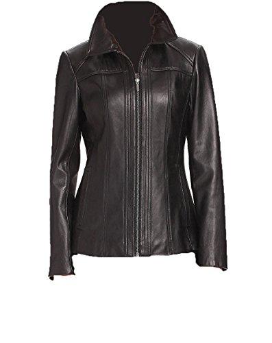 Lambskin Leather Shorts - Women's Lambskin Leather Short Peacoat Jacket, Black Small