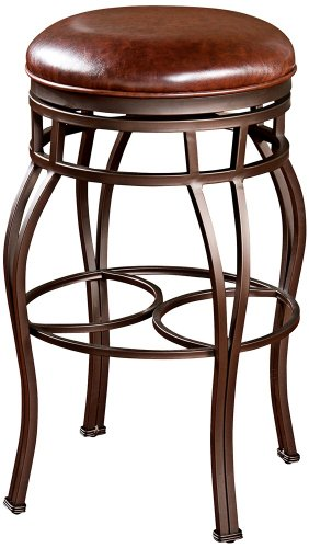 American Heritage Bella-Backless Counter Stool w Swivel Leather Seat, Bar Height 61463-OG-43188-O-136881, Brown