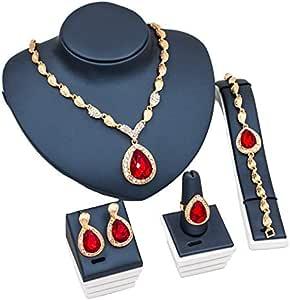 مجموعة مجوهرات مضفرة روبي مطلية بالذهب 18 قيراط، قلادة، سوار، حلق وخاتم مع حافظة هدية