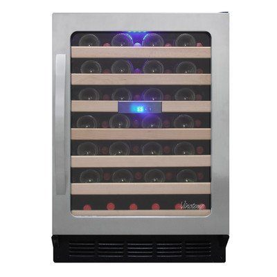 Vinotemp VNTVT-50SD SB 50-Bottle Wine Cooler with Seamless Glass Door and Curved Handle For Sale
