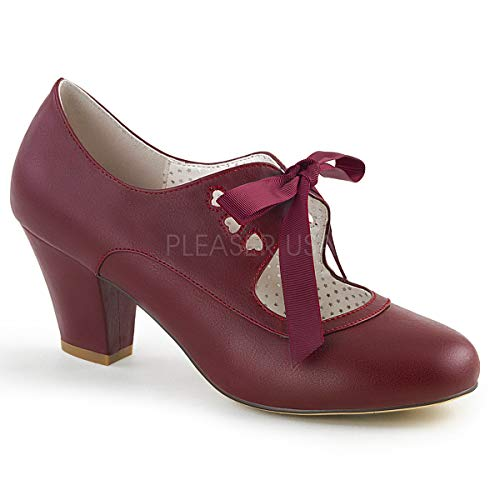 Pin Up Couture Women's WIGGLE-32 Pump, Burgundy Faux Leather, 10 M US