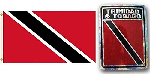 ALBATROS Set Trinidad Tobago Country 3 ft x 5 ft 3x5 Flag and 3ftx4ft Decal for Home and Parades, Official Party, All Weather Indoors Outdoors ()