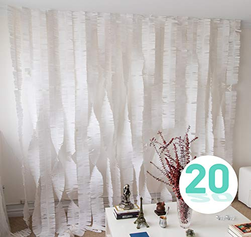 Palluat Tissue Paper Fringe Garlands Streamer Party Decorations 20 Count (White)]()