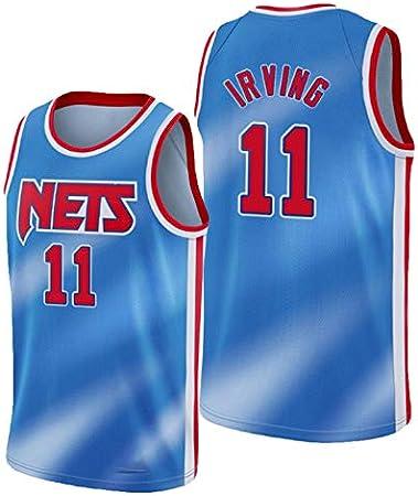 YPKL Kyrie Irving Jersey para Hombre, 2021 Edición de la Ciudad Brooklyn Nets 11# Blue Basketball Jerseys, Unisex Sin Mangas Ropa Deportiva de Entrenamiento, Gimnasio Ch Blue-XXL