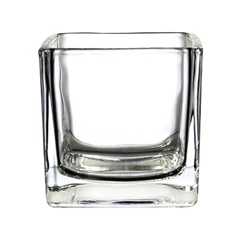 CYS EXCEL Glass Cube Vase, Cubic Flower Vase, Squared Votive Candle Holder, Centerpiece Cubed Vase, Pack of 12