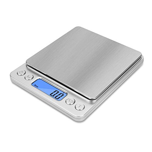 NEXT-SHINE Gram Scale Digital Kitchen Scale Mini Pocket Pro Size 500g x 0.01g with LCD Display Stainless Steel Platform for Cooking Baking Jewelry Weight Postal Parcel (Renewed)