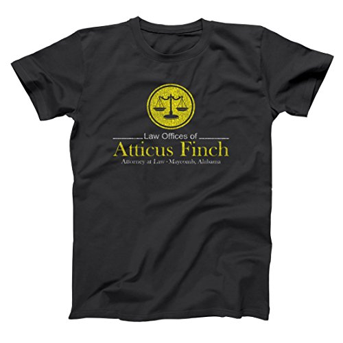 Atticus Finch Law Offices Funny Retro Classic Book Humor Mens Shirt Large Black (Atticus Black Shirt)