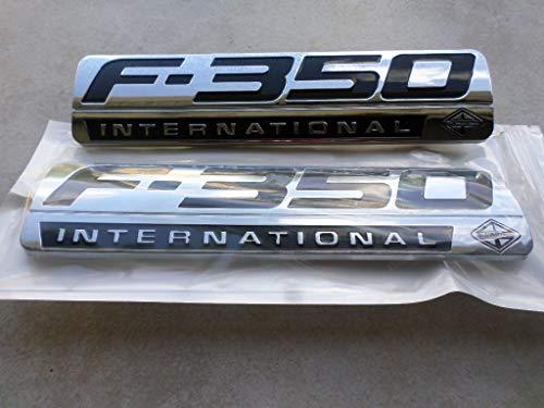 SET CUSTOM CHROME F450 POWERSTROKE INTERNATIONAL FENDER BADGES PAIR PAIR 2 NEW