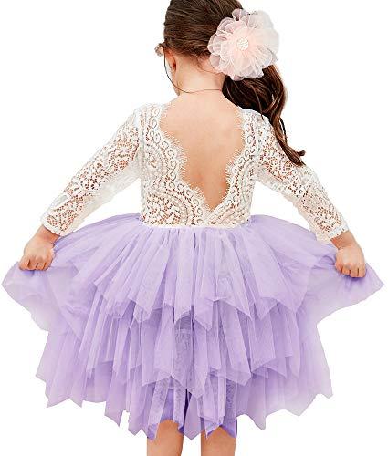 Topmaker Backless A-line Lace Back Flower Girl Dress (6Y, Sleeve-Ivory)