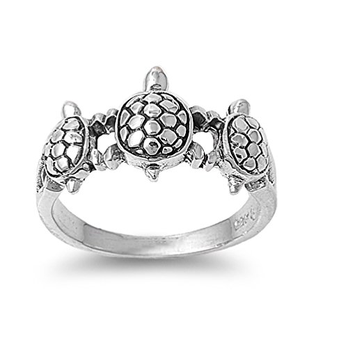 925 Sterling Silver Three Turtles Designer Ring Size 9 by Princess Kylie