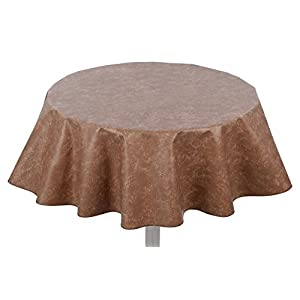 "Yourtablecloth Heavy Duty Flannel Backed Round Vinyl Tablecloth – 6 Gauge Thickness, Indoor and Outdoor & Easy to Clean 60"" Camel Print"