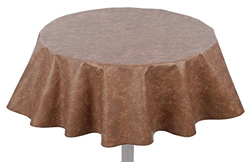 """Yourtablecloth Heavy Duty Flannel Backed Round Vinyl Tablecloth – 6 Gauge Thickness, Indoor and Outdoor & Easy to Clean 60"""" Camel Print"""