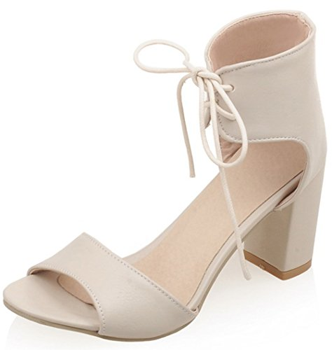 [T&Mates Womens Stylish Fashion Open Toe Ankle Strap Lace-up Chunky Heel Pump Sandals (5] (Traditional Russian Outfits)