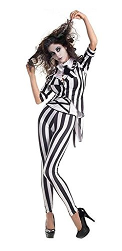 XCOSER Womans Beetlejuice Costume Cosplay Outfit Graveyard Ghost Suit for Halloween]()