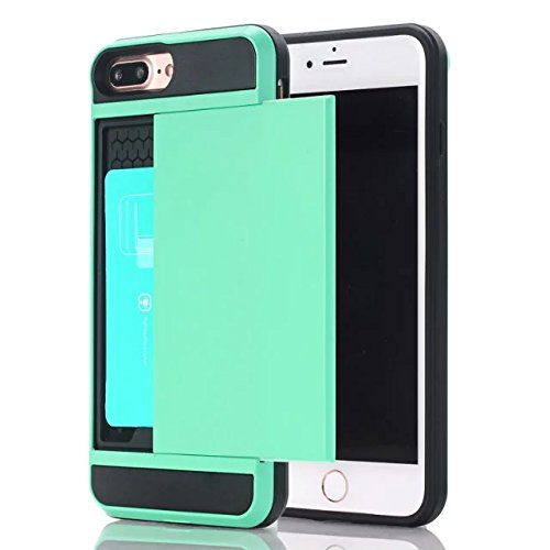 Holder Skin - iPhone 6 Plus Case,Berry Impact Resistant Hybrid iPhone 6S Plus Wallet Case Shell Shockproof Rugged Rubber Bumper Anti-scratch Hard Cover Skin Card Holder for iPhone 6 Plus / 6S Plus Teal