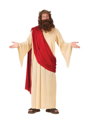 FunWorld Men's Jesus Adult Costume, Cream/Red, One Size Fits Up To 6ft. 200 lbs.