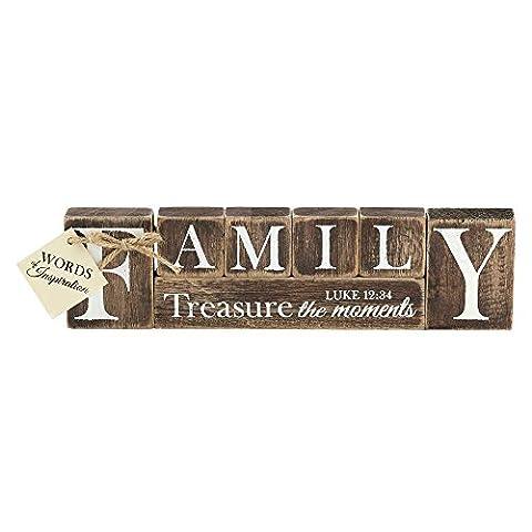 Family Treasure Luke 12:34 Block Word Distressed Wood 9.5 x 3.5 Wood Table Top Sign Plaque - Sign Blocks Decor