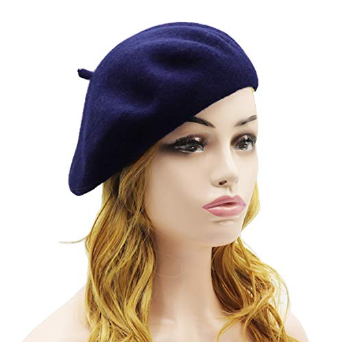 (Wheebo Wool Beret Hat,Solid Color French Style Winter Warm Cap for Women Girls (Navy Blue))