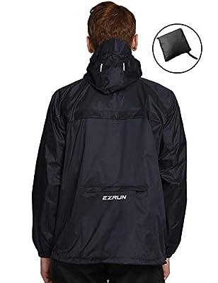 EZRUN Men's Waterproof Hooded Rain Jacket Windbreaker Lightweight Packable Raincoat