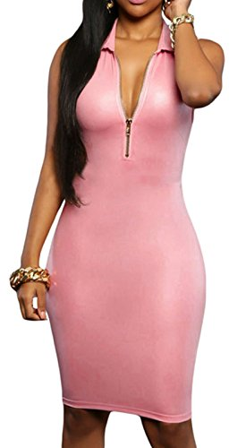 Elady Leatherette Midi Dress Women Sexy Zip Fron Clubwear Night Party Bodycon Pink (M)
