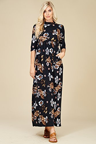 Dresses Black Maxi Women's Annabelle Long Sleeve 4 Side with 3 D5283b Floral Pockets AF1qY