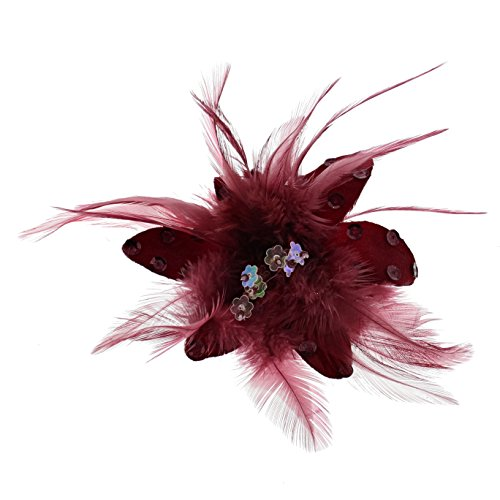 Zac's Alter Ego Women's Fur, Feathers & Sequins Fascinator/Flower On Clip & Brooch Pin Approx. Diameter 9Cm, Height 5 Cm Burgundy ()