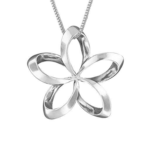 Sterling Silver 24mm Open Plumeria Pendant Necklace, 16+2