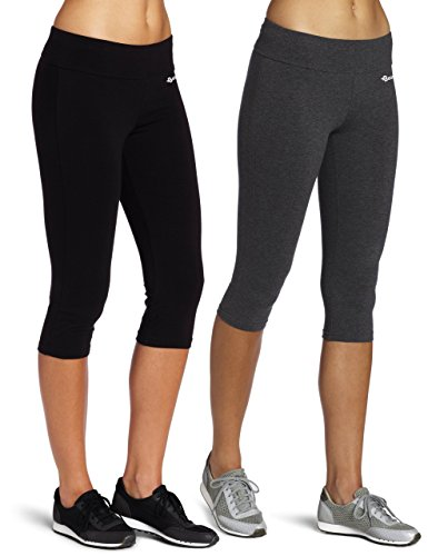 BAOMOSI Women's Cotton Tights Capri Yoga Running Workout Leggings Pants, 2 Pack (Black&Grey), X-Large