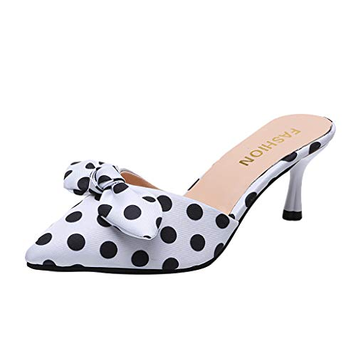 JJLIKER Women's Polka Dot High Heel Sandals Slippers with Bowknot Slippers Slip on Shoes Stiletto Pump Dress Sandal