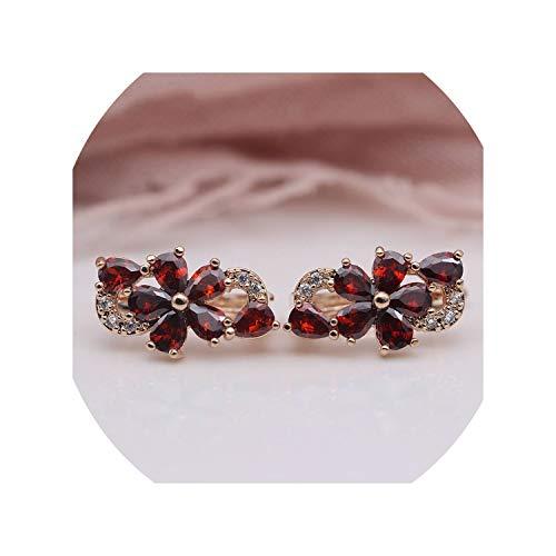 Water Drop Plum Blossom Dangle Earrings Women Fashion Trendy Jewelry,Pomegranate Red ()
