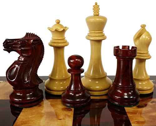 Double Queen Chess - HPL Blood Rosewood 3 3/4 Inch King Double Queens Anderssen Staunton Chess Men Set - NO Board or Storage