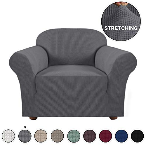 Arm Chair Polyester Cushion - Turquoize Jacquard High Stretch Amrchair Arm Chair Slipcover with Elastic Bottom Spandex 1 Seater Cushion Couch Cover Furniture Protector Cover for Sofa and Couch (Chair, Grey)