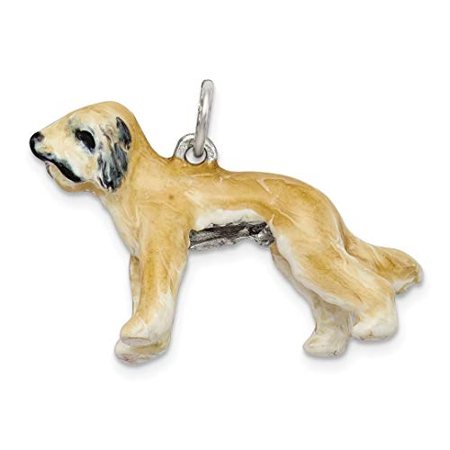- 925 Sterling Silver Enameled Briard Pendant Charm Necklace Animal Dog Fine Jewelry Gifts For Women For Her