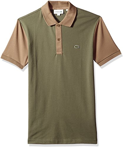 Lacoste Men's Short Sleeve Color Block Pique Pima Stretch Slim Polo, PH3170, Army/Aloe, Small - Mens Pima Pique Polo